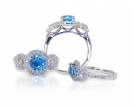 Topaz and Diamond bespoke ring from Hobart Jewellery shop Jai Hay Jeweller